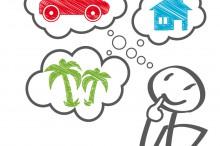 WŸnsche; wunsch zukunft; darlehen; kredit; finanzierung; ratenkauf; sparen; geld; kaufen; konsum; konsument; verbraucher; lebensplanung; haus; auto; traumhaus; urlaub; verreisen; flugreise; weltreise; fernreise; hauskauf; Ÿberlegen, entscheiden, nachdenken, hausbau; autokauf; zweitwagen; wunschdenken; kaufrausch; kaufsŸchtig; sparvertrag; zinsen; prozente; schufa; auskunft; glŠubiger; solvent; gewinn; lotto; lottogewinn; geldgewinn; glŸck; gewinner; trŠume; wolkenkuckucksheim; luftschlo§; mŠnnchen